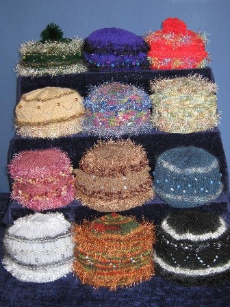 Beaded Hats with Trim Yarns